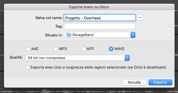 GarageBand come esportare le tracce